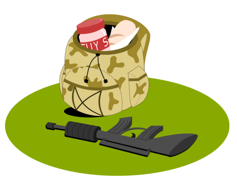 military-backpack-and-gun-oie